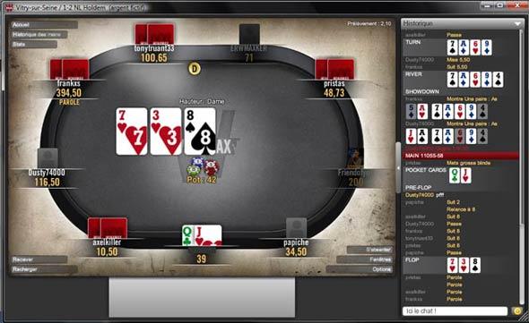 logiciel winamax poker : table de jeu