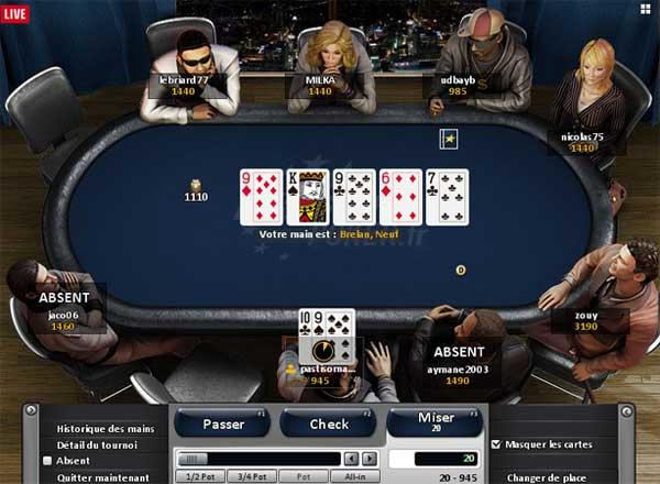 table de jeu sur eurosport poker